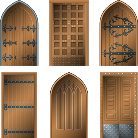 old wooden door: Door to the Middle Ages Illustration