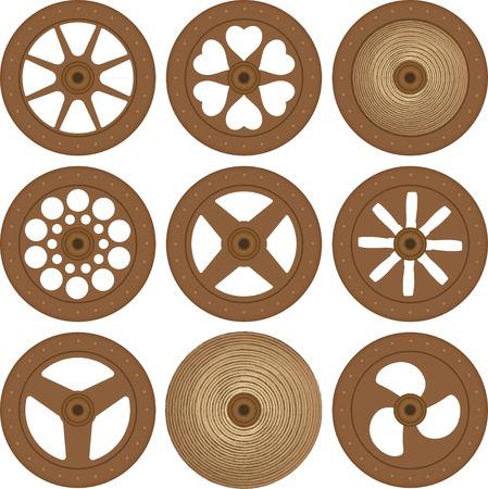 Houten wielen Vector Illustratie