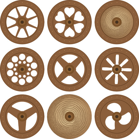 hub: Wooden wheels Illustration