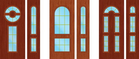 wooden doors: Puertas de madera modernos Vectores