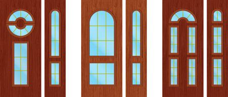 puertas de madera modernos foto de archivo