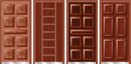 wooden doors: Las puertas de madera Vectores