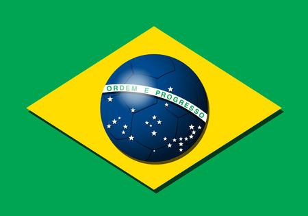 Braziliaanse vlag met voetbal Stock Illustratie