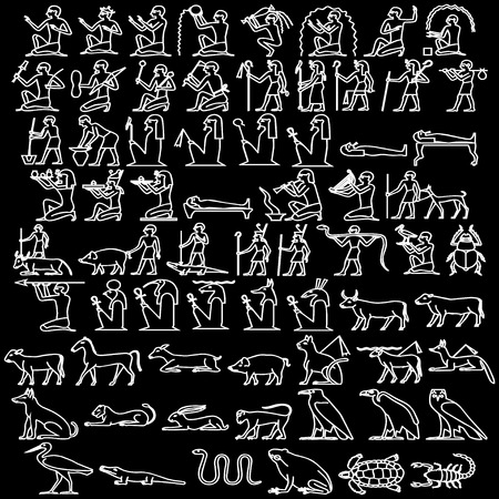 Egyptian hieroglyphs black Vector
