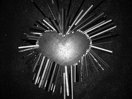 Heart made with pencils