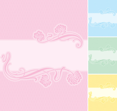 secession: Elegant floral label background. Editable and scalable vector illustration. Usable for wedding invitations, greeting cards, baby-birth announcements, etc.