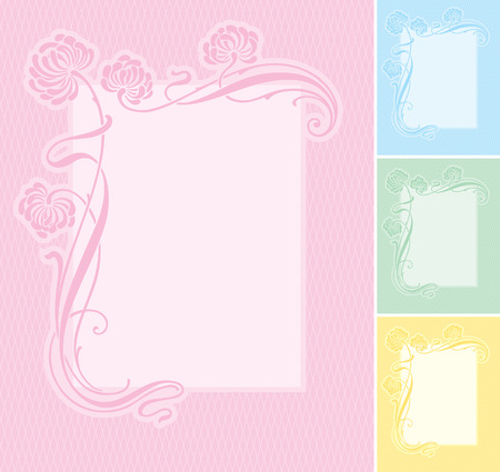 Elegant floral label background. Editable and scalable vector illustration. Usable for wedding invitations, greeting cards, baby-birth announcements, etc.