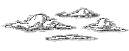 vector retro clouds pattern, engraved looking design element