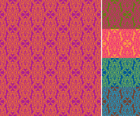 Ornate seamless damask wallpaper pattern backgrounds, perfectly tile-able, in 5 color variations. Vector illustration, scalable and editable. Vector