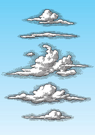 crosshatch: clouds set Illustration
