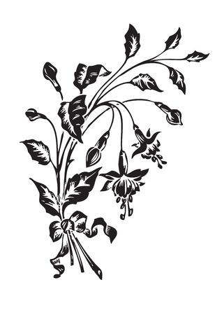 twirls: antique flowers engraving  Illustration