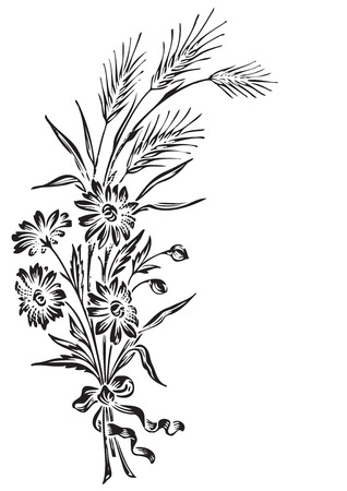 wheat illustration: antique flowers engraving  Illustration