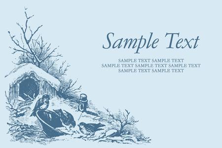 etching pattern: vintage card Illustration