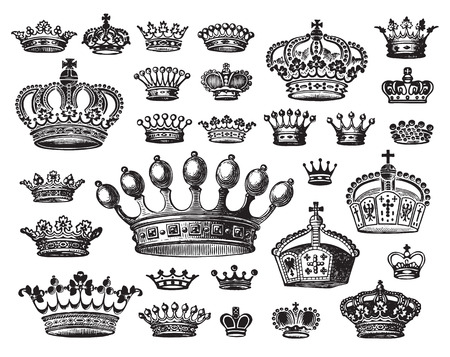 etching pattern: antique crowns set