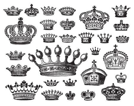 corona de rey: conjunto de antig�edades coronas  Vectores