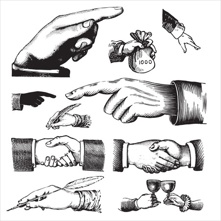 antique hands set Stock Vector - 7350455
