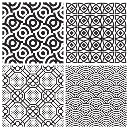 naadloze patronen set (vector)  Vector Illustratie
