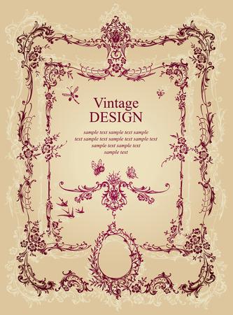 antique frame background  Vector