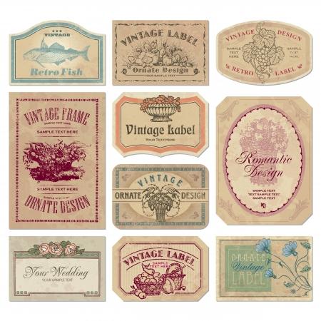 vintage labels set Vetores