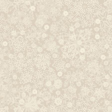 beige stof: naadloze sneeuwvlokken patroon  Stock Illustratie