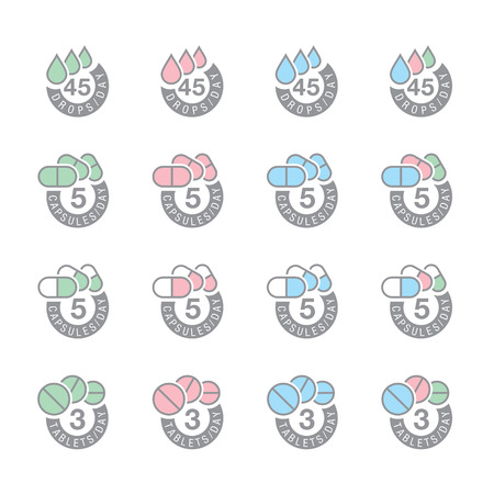 pharmaceutical dosage icons  Vector