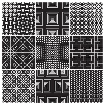 9 seamless monochrome patterns