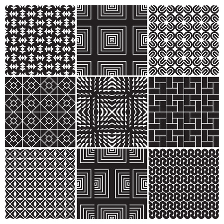 9 seamless monochrome patterns  Vector