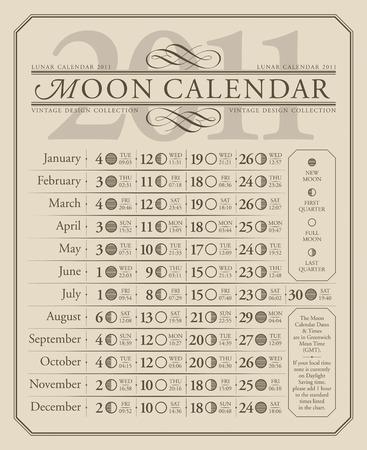 2011 lunar calendar, GMT  Vector