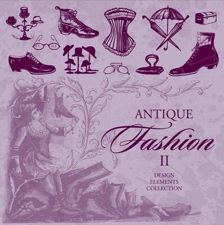 corsetto: set di moda antica (vector) Vettoriali