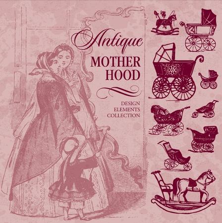 motherhood: antique motherhood set (vector)