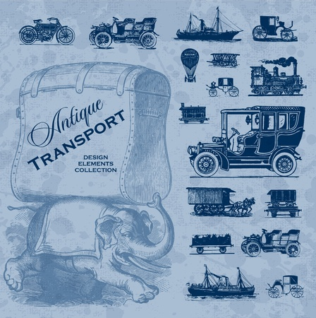 antique transportation set (vector) Illustration