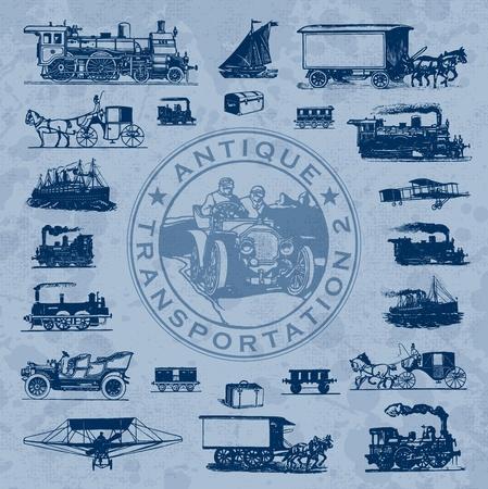 steamship: antieke vervoer instellen (vector) Stock Illustratie
