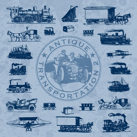 antique transportation set (vector) Illustration