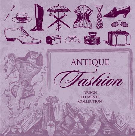 antique fashion set (vector) Vector