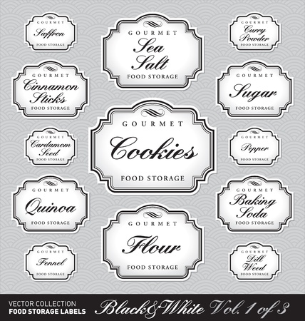 set of ornate labels for food storage - 1 of 3 (vector) Vector