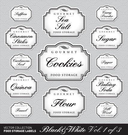 nobility: set of ornate labels for food storage - 1 of 3 (vector)
