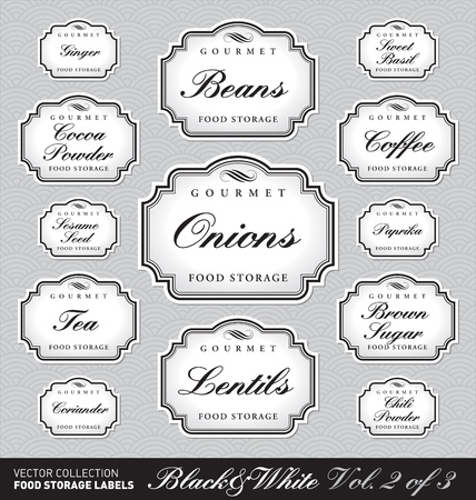 set of ornate labels for food storage - 1 of 3 (vector)