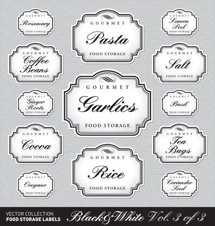 title: set of ornate labels for food storage - 1 of 3 (vector)