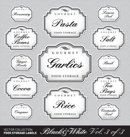 set of ornate labels for food storage - 1 of 3 (vector)