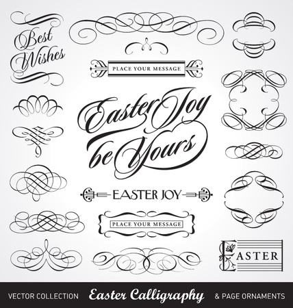 typographic: easter calligraphy set (vector)