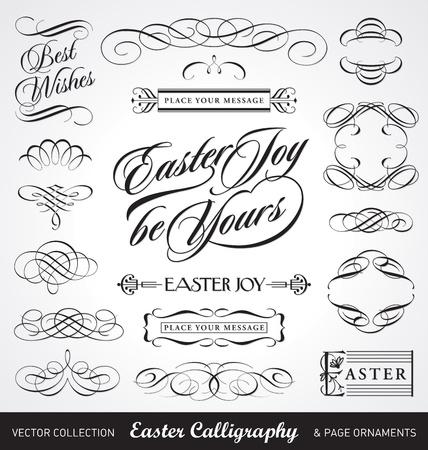 typographic: easter calligraphy set (vector)