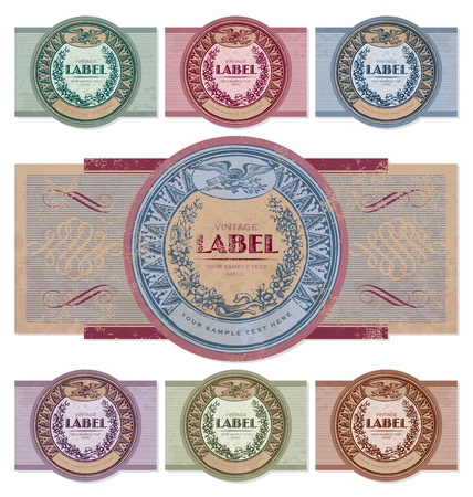 vintage labels set (vector) Illustration