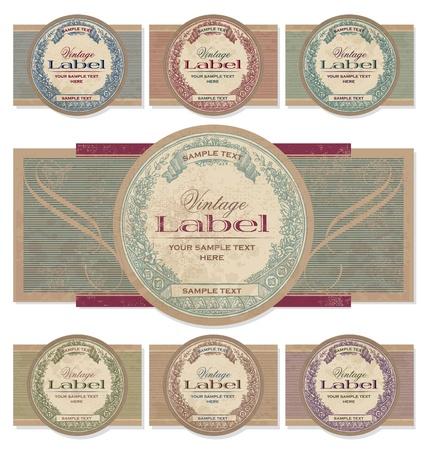 papel scrapbook: conjunto de etiquetas Vintage (vector)