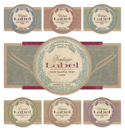 scrapbooking: vintage labels set (vector) Illustration