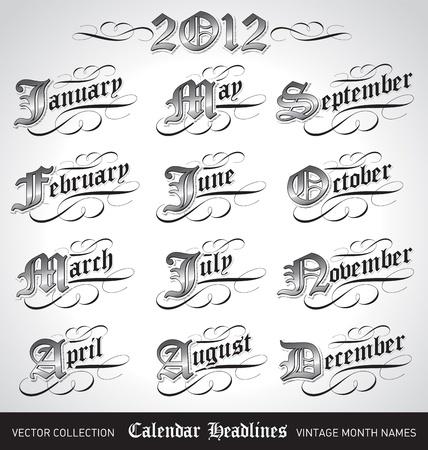 vintage calendar month titles. Vector