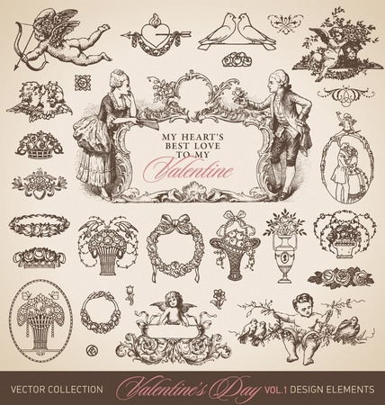 antique valentines set Vector