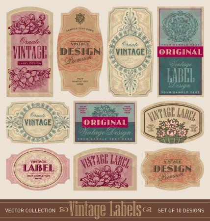 etching pattern: vintage labels set  (vector)
