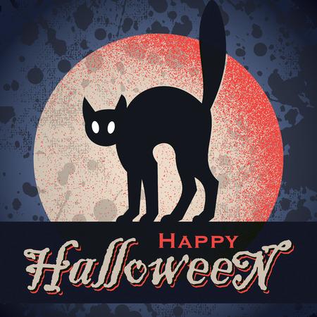 gato negro: Dise�o de Halloween del vintage grunge Vectores