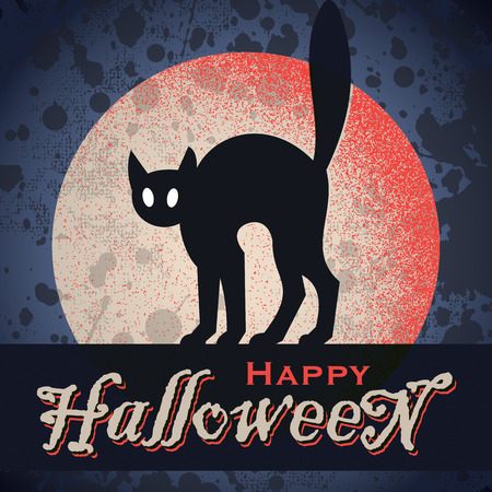 black cat silhouette: vintage grungy Halloween design