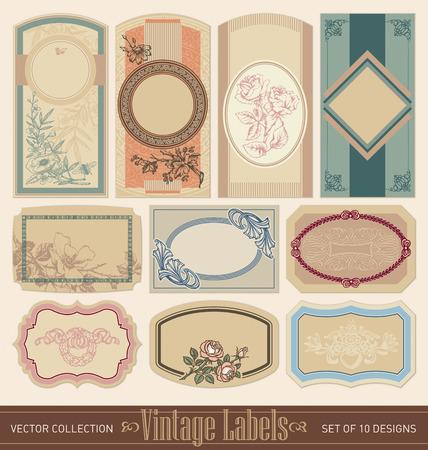 old book cover: vintage blank labels set